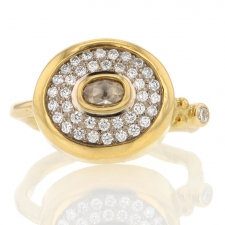 Pave Diamond Yellow Gold with Oval Center Diamond Image